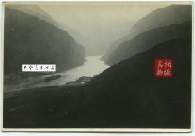 民国时期长江扬子江三峡老照片,背面有拍摄地点
