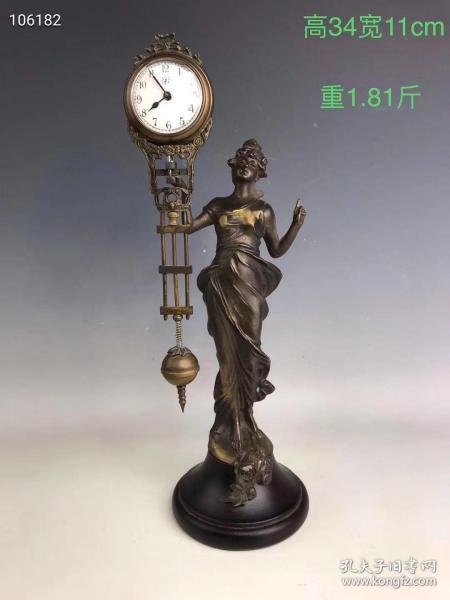 上世纪八十年代,回流铜制人物摆表,做工精美,品相一流