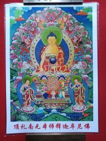 彩色过塑佛像、法像艺术照片《顶礼南无本师释迦牟尼佛》第二种