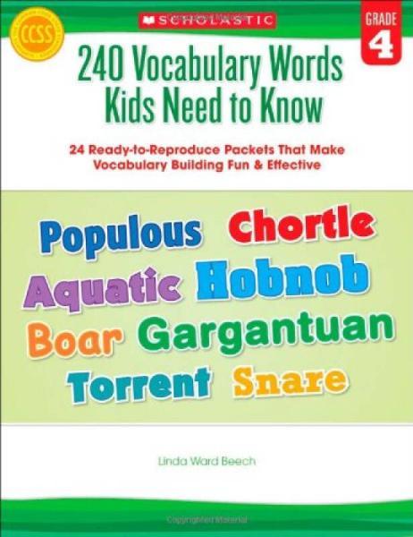 240 Vocabulary Words Kids Need to Know, Grade 4 240个必会单词(四年级)