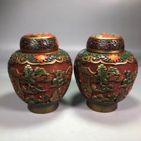 旧藏彩绘漆器山水风光漆器罐子摆件一对