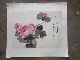 吴祖光 新凤霞合作花卉  旧画新裱 尺寸50x48