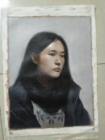 笔触细腻无款名家油画《黑衣女子》