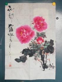 洛阳画牡丹名家前三甲贾万友国画(牡丹图)