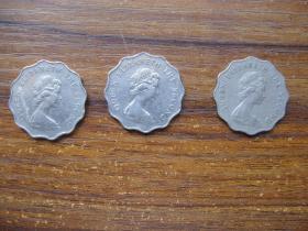 香港70至80年代花边二圆镍币3年份一组27.2MM
