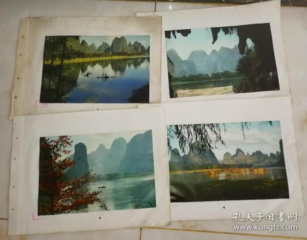 70年代電影風景宣傳畫(30張)上面有山東省京劇團《奇襲白虎團》劇組資料印尺寸52公分×39公分(11)