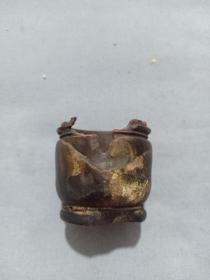 (箱13)清代  角制 烟膏,烟丝盒,缺盖,有损,4*4.5cm