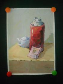 手绘水粉水彩《暖瓶茶壶》
