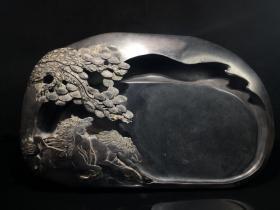 旧藏端石文房砚: 奔马
