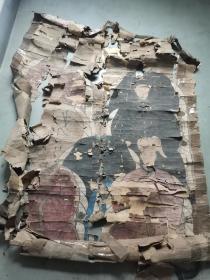 清代早期祖宗功德像,破损严重,剩余部分,可见画工精微生动,栩栩如生,代表了清人工笔水平。可作为装裱字画的挑战性课题。