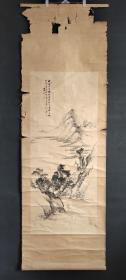D524:回流手绘山水立轴(日本回流.回流老画.老字画)