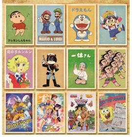 【盒装32张大全】《708090后经典动画片卡通(希瑞、蓝精灵、机器猫、一休哥、黑猫警长、葫芦娃、蜡笔小新、花仙子、超人、海绵宝宝、迪士尼)》明信片全新
