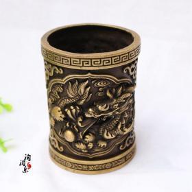 文房用品 铜仿古笔筒工艺品摆件笔筒古玩铜器礼品 单龙戏珠笔筒