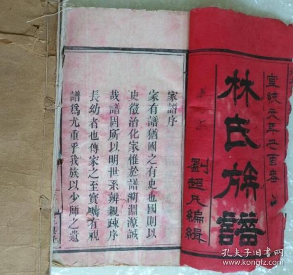 宣统林氏族谱,白宣纸精印,共十册,书皮古朴完整品相保存完美,家族尊比干为远祖极罕见