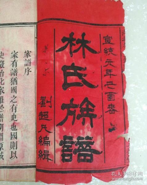 林氏族谱!宣统白宣纸精印,共传世十册,书皮古朴完整品相保存完美,家族尊比干为远祖极罕见