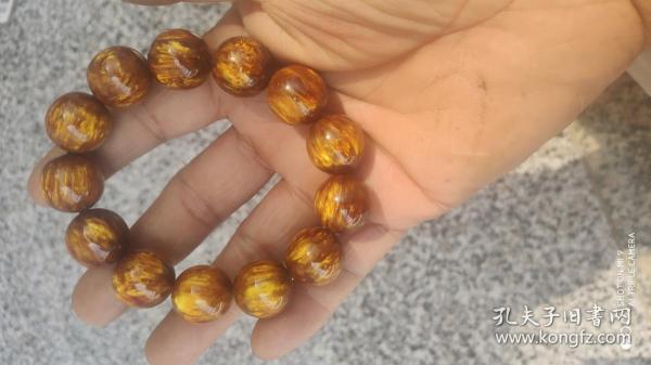首飾類;金絲海柳手串1個13顆1.6厘米