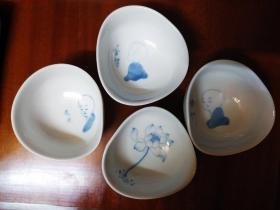 手绘精品 禅意 青花品茗杯一组(4个)中国茶叶博物馆出品