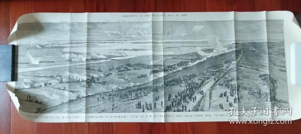 《英军在庞培战场集结图》英国古董版画。1884年4月19日刻印。原画作者是英国著名画家C.W.Wyllie,见右下角签名.庞培一直以其英国皇家海军港口的地位而著名。长1.11米。十分罕见珍贵。