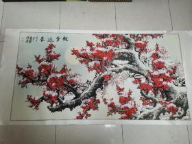 国家一级美术师 罗琦 国画作品《傲雪迎春》(戊子年春、2008年)尺寸:180cm*100cm,约16平尺
