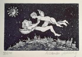 意大利 海尔伯格Alexandra ovn hellberg版画藏书票原作6精品收藏