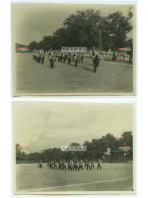 民国驻华外军军乐队在操场上演练老照片,上海?共计两张,尺寸均为10.1X7.6厘米