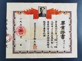 1956年财政部扬州财政学校毕业证书——少见
