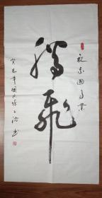 手书真迹书法:陈子满草书《腾飞》三尺