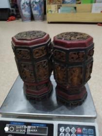 闽南清代或民国木头嵌泥塑人物老佛龛一对(少了一人物注意整体材质为木头外面嵌制的泥塑非手刻)高24公分