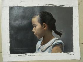 笔触细腻无款名家油画《女孩》