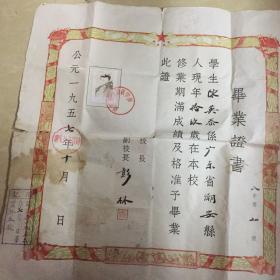 潮安县1957年毕业证,潮安第四初级中学校长彭林