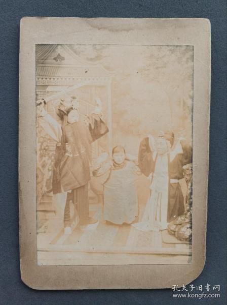 清末 戏子蛋白照片一幅 贴于硬纸板