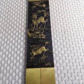 文房四宝 优质纯铜 实心黄铜镇尺 铜压尺 铜镇纸 铜压纸 火麒麟