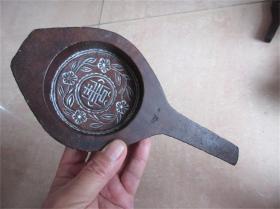 老模具富贵花卉图月饼食品老印模饽饽卡子手工雕刻清代民国老民俗