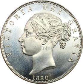 英国1880维多利亚1/2冠年轻头银元银圆