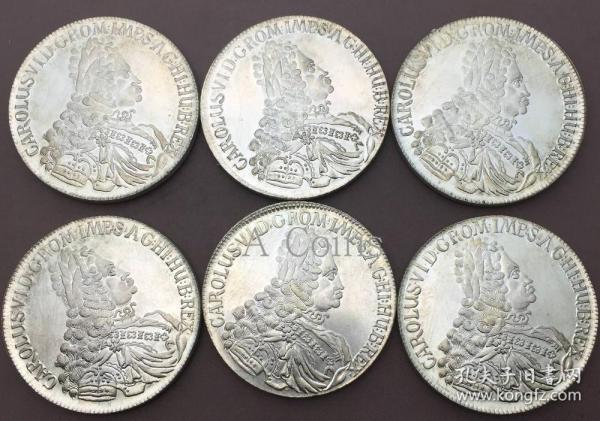 奥地利查理六世神圣罗马帝国皇帝1719~1734银元银圆