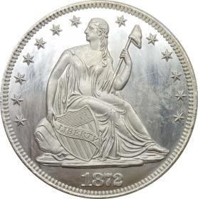 美国自由坐在半鹰美元座右铭鹰1872年