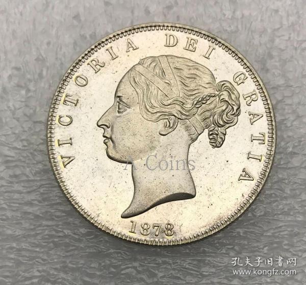 英国1/2皇冠1878维多利亚年轻人头银元银圆