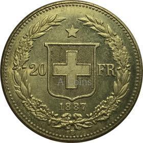 瑞士法郎1887银元银圆