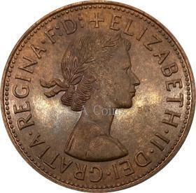 英国1954年一便士伊丽莎白二世银元银圆