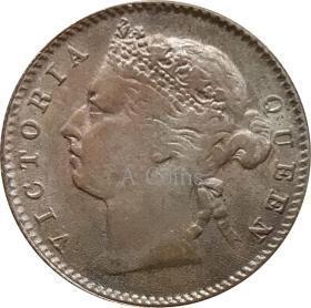 英国海峡殖民地维多利亚女王1/4分1899年银元银圆