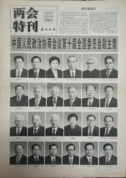 合肥晚报2003年3月14日两会特刊