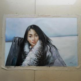 95年藏族少女油画一幅,包手绘,非印刷复制品,落款人:艾轩,画布尺寸:70x100厘米