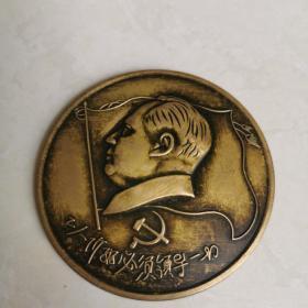 解放初期毛主席铜像,直径6㎝,重36.6g,保真。