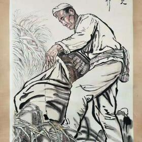 手绘陕北老人画一幅