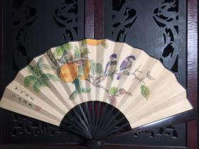 檀木手绘花鸟折扇,长33厘米,宽61厘米,199
