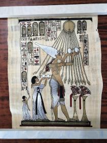 埃及通草画:国王、王后祭祀太阳神