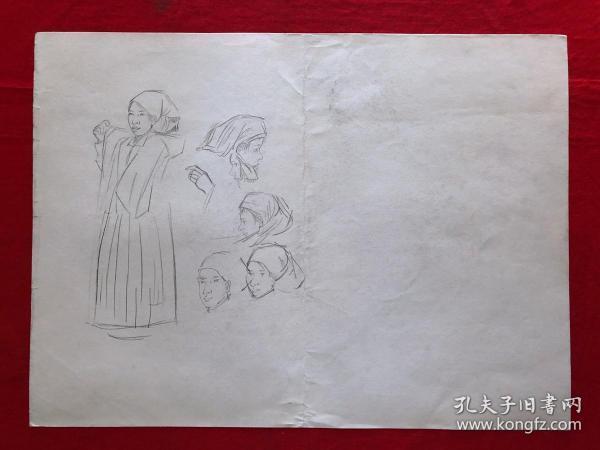 书画原作7137,素描画,4开,舞台服装共9张合售