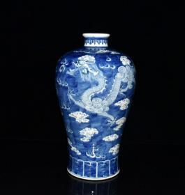 清康熙青花留白龙纹梅瓶     古玩古董古瓷器收藏   清三代青花瓷器瓶   尺寸32.5/18