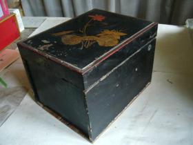 清代木制手绘彩漆金银手饰盒