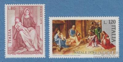 意大利邮票 1978 圣诞节 绘画 圣母子 朝拜基督 雕刻版 2全